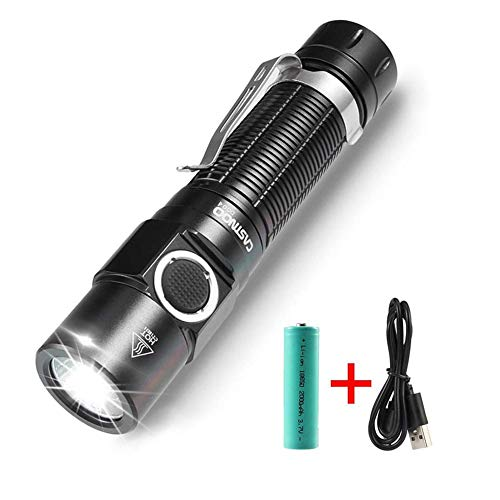 USB Rechargeable Flashlight, LED Flashlight Torch, 750 Lumens Super Bright Flashlight with 4 Modes Clip Flashlight Pocket-Sized, Waterproof IPX-6 Torch Light for Hiking, Camping