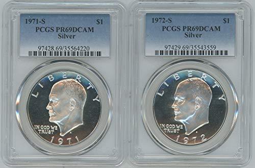 1971 Dollar Eisenhower - 1971-1972 S Silver Eisenhower Ike Dollar PR69DCAM