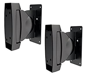 ViiRO Heavy Duty Speaker Mount Brackets Black - Set of 2 - Supports up to 22lbs (10kgs) Ideal Speaker Mount for Wall or Bookshelf