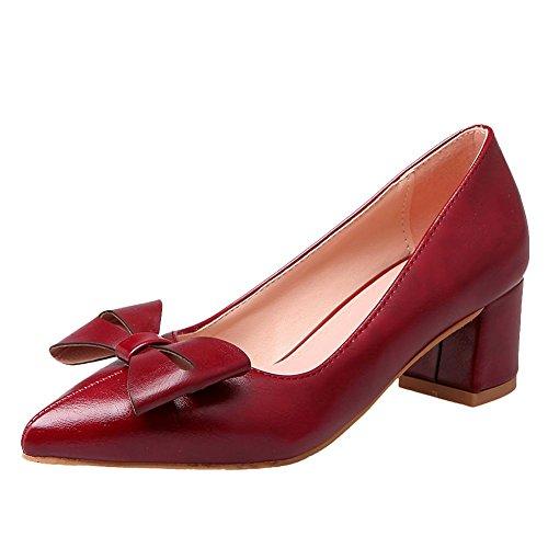 Carolbar Donna Scarpe A Punta Rovesciata Retro Tacco Medio Scarpe Rosso Scuro