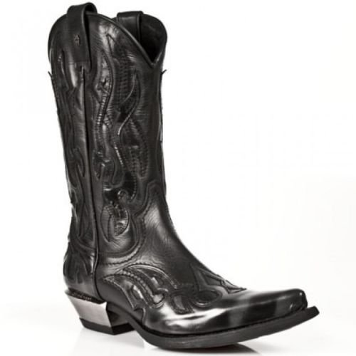 Newrock Ladies 7921-S3 New Rock Leather West Black Silver Cowboy Leather Boots