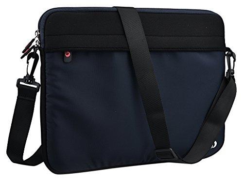 Kroo 13.3″ Neoprene Messenger Bag Sleeve With Removable Shoulder Straps for Laptops, Black and Navy Blue (ND13S2K2)