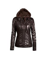 Women Plus Size Zipper Moto Biker Faux Leather Outerwear Coat Jackets Tops