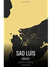Sao Luis Brazil: City Map Notebook for Travelers Lined Notebook Journal. 6x9 Inches | 100 Pages