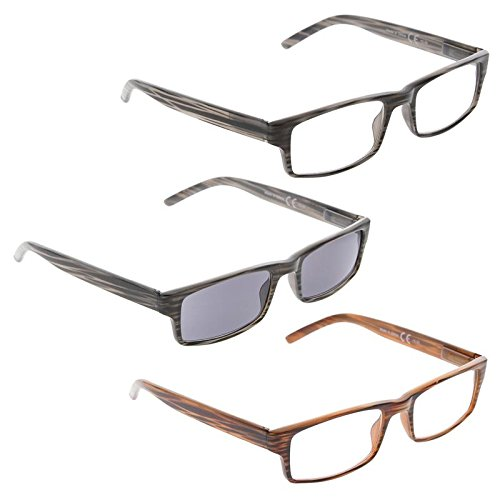 READING GLASSES 3 pack Striped Include Sunshine Readers
