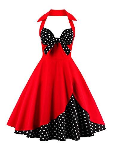 ANCHOVY Women Vintage 50s Halter Dresses Floral Audrey Hepburn Bowknot Tea Dress C82 (red&dot 02, 3XL)]()