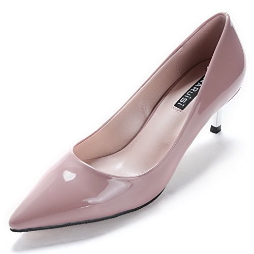 AalarDom Women's Pointed Closed Toe Pull On Kitten-Heels Pumps-Shoes, Nude-Patent Leather, 34