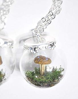 Woodland Necklace Rectangle Star Daisy Real Mushroom Fern Lichen Moss fairy garden
