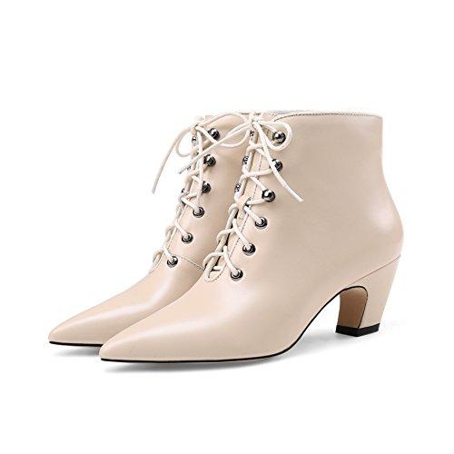 Warm mujer amp;X bloque zapatos señaló Beige de QIN el talón Botines corto La Inner Toe wFOHxFqES