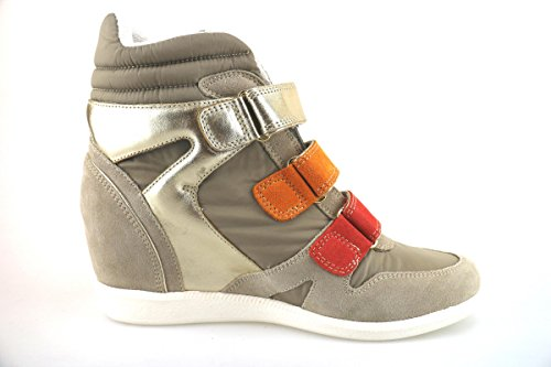 CULT sneakers zeppe donna beige tessuto pelle camoscio AH866