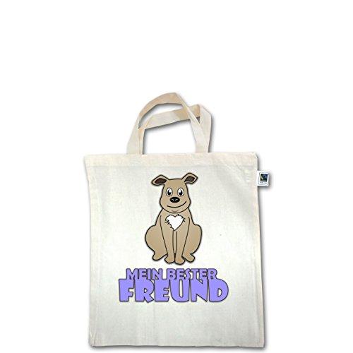 Tiermotive Kind - Mein bester Freund Hund - Unisize - Natural - XT500 - Fairtrade Henkeltasche / Jutebeutel mit kurzen Henkeln aus Bio-Baumwolle