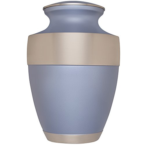 Liliane Memorials Light Blue Sky Funeral Cremation Urn with Wide Band Silver Star Model in Brass for Human Ashes Suitable for Cemetery Burial Fits Remains of Adults up to 200 lbs, Large,