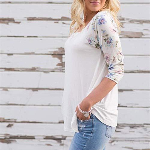 Semplice Shirts Autunno Baggy Lunga Leopard Eleganti Manica Di Moda Glamorous Pattern Donna Stampate Pullover Tshirt Casual Camicetta Bianca Rotondo Magliette Collo vCq4w