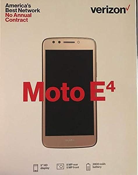 Amazon Com Moto E4 Verizon Prepaid Xt1765 16gb 5 4g Lte Smartphone Gold Electronics