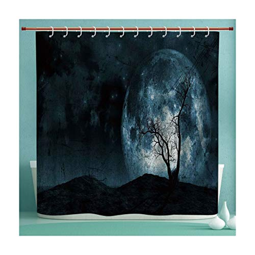 SHXJHOME Waterproof Shower Curtain Collection with Hooks, Night Moon Sky with Tree Silhouette Gothic Halloween Colors Scary Artsy Background, Hand Drawing Effect Fabric Shower Curtains, 72x72 -