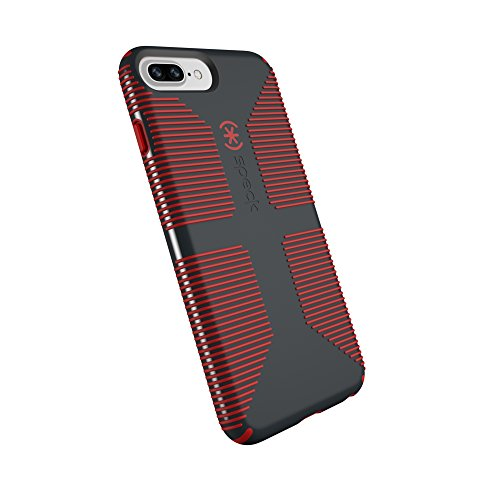 Speck Products CandyShell Grip Cell Phone Case for iPhone 8 Plus (Also fits 7 Plus and 6S/6 Plus) - Charcoal Grey/Dark Poppy Red