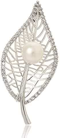 813842519 SKZKK Hollow Leaf Jewelry for Women Pearl Inlay Zircon Crystal Dress Pins  Brooch,Corsages Scarf