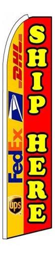 Ship Here (UPS FedEx USPS DHL) Feather Swooper Flag Banner Kit: Fusion Pole Set, Safety Orange Stake, Wind - Order Status Usps