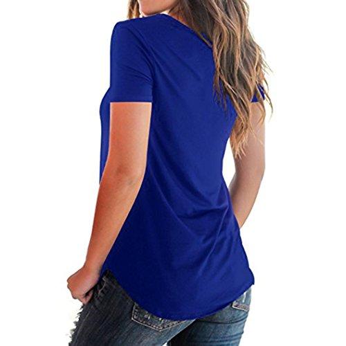 col Tops V Décontractée Avant Cross Criss en Bleu Shirt Hei Plus Tops Occasionnels T Zha La Solide Femmes Manches T Mode Blouse Taille Chemise Tops Courtes Ba Manches Shirt Sexy Courtes vPOwq6