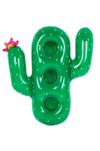 SunnyLIFE Animal Shaped Pool Inflatable Floating Cup Holder for Drinks - Cactus Green by SunnyLIFE