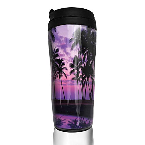 Coffee Cup Purple Hawaii Sunset Travel Tumbler Insulated Leak Proof Drink Containers Holder Designer 12 Ounces