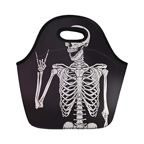 Semtomn Lunch Tote Bag Dead Human Skeleton Posing Over Skull Rock Sketch Zombie Reusable Neoprene Insulated Thermal Outdoor Picnic Lunchbox for Men -