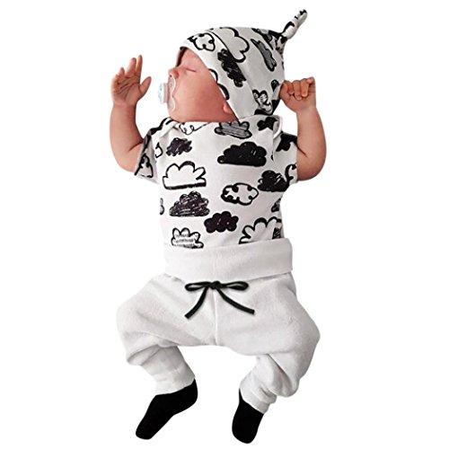 (Hot Sale!Todaies Newborn 3pcs Toddler Baby Girl Boy Cloud Print T Shirt Tops+Pants Outfits Clothes Set (0-3M, White))
