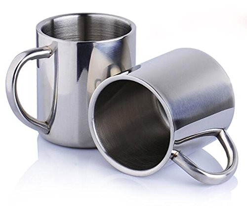 Bekith Stainless Steel 13.5 Oz Double Walled Insulated Coffee Beer Tea Mugs, Set of 2