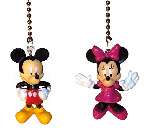 Mickey Mouse & Minnie Mouse Ceiling Fan Pull Set (Brass)