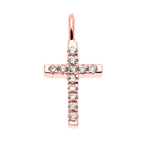 Beautiful Dainty Tiny 14k Rose Gold Cubic Zirconia Cross Charm Pendant