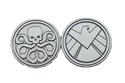 hibadge Agents of Shield S.H.I.E.L.D. and Hydra Sign Chanllenge Coin-45mm Brass Silver