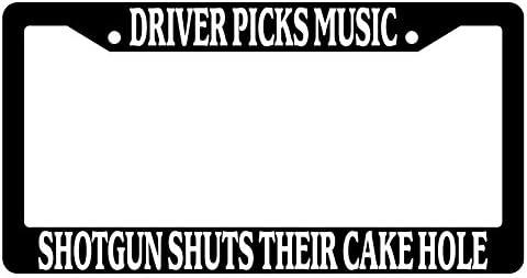 ClustersNN Supernatural Driver Picks Music Shotgun Shuts Their Cakehole Black Metal License Plate Frame with Vinyl White