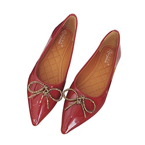 T-juli Mode Puntschoen Loafers Bootschoenen Strik Ballet Casual Flats Schoenen Voor Dames Rood