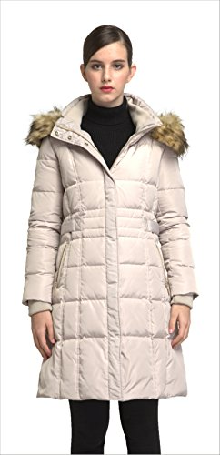 Orolay Women's Puffer Down Coat Winter Jacket With Faux Fur Trim Hood YRF8020Q (2XL, Beige)