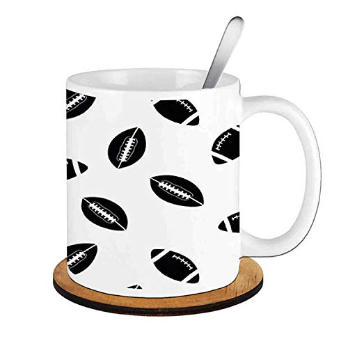 - with Black Rugby Balls Culture Sports Play,Black White;Ceramic Cup with Spoon & Round wooden coaster Milk Coffee Tea Mug 11oz gifts for family