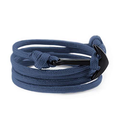 (Flexo Fitness Matte Handmade Motivational Black Plated Nylon Adjustable Wrist Rope Anchor Bracelet for Men and Women - Navy Blue)