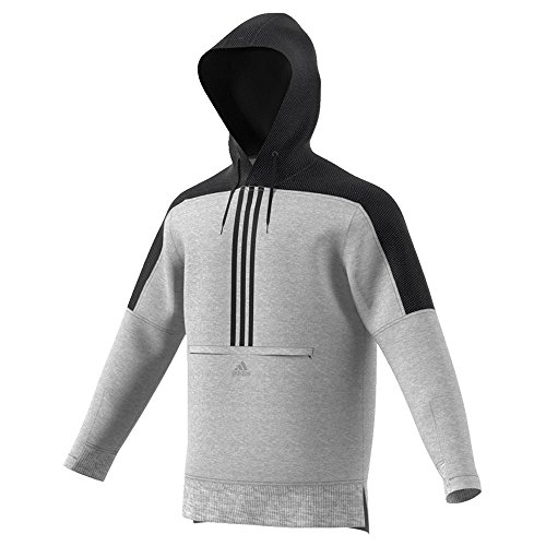 adidas Men's Sport ID Pullover Cotton Hoodie Medium Grey Heather Large - Adidas 3 Stripes Fleece Hooded
