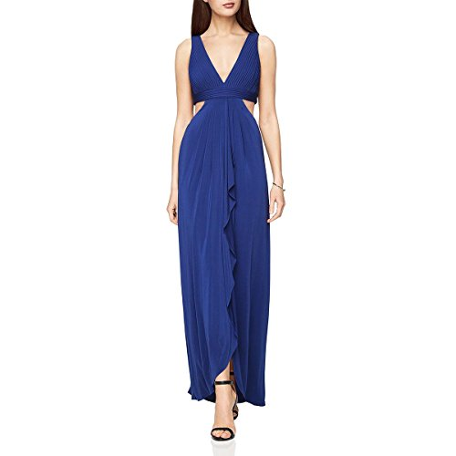 BCBG Max Azria Womens Elinne Special Occasion Front Slit Evening Dress Blue 8 ()