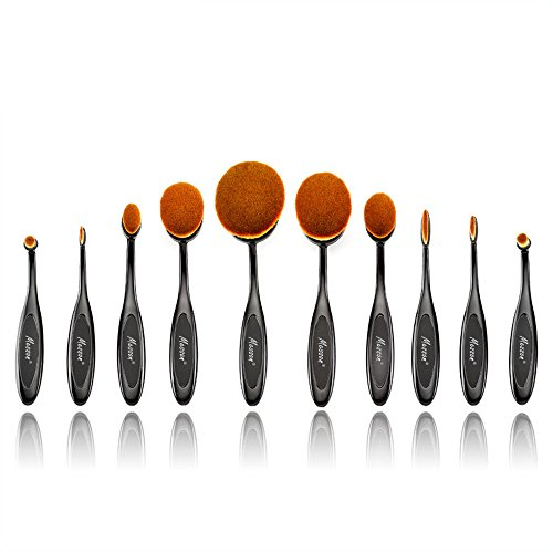 Professional Fashionable 10Pcs Black Makeup Brushes Set Oval Toothbrush Cosmetics Tool Foundation Contour Brush Powder Blush Eyeliner Blending Brush by Messon