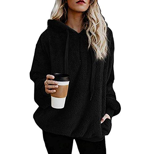 Kaimu Womens Fleece Hooded Pullover Sweatshirt Casual Loose 1/4 Zip Jacket Coat with Pockets