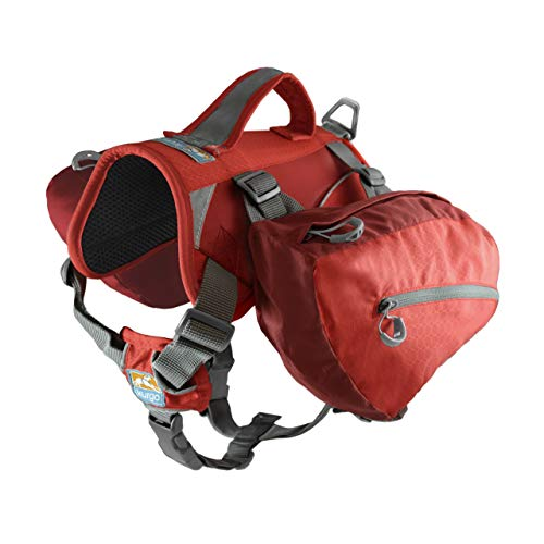 Kurgo Baxter Dog Backpack, Dog Saddlebag, Dog Pack, Adjustable Saddlebag for Hiking, Walking, Running, Camping, Chili Red/Barn Red ()