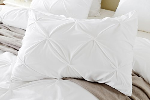 Precious Star Linen Pillow Sham Set of 2 Pinch Plated/Pintuck Pillow Cover Sham Solid Design 625 Thread Count Natural Cotton, Hypoallergenic (White Solid, Standard (20
