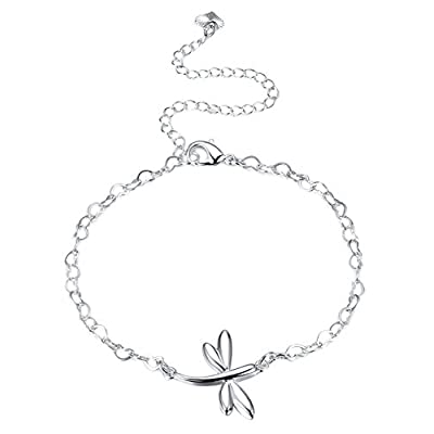 Hot Xiaodou Women Dragonfly Adjustable Ankle Bracelet Silver Plated Jewelry Barefoot Sandal Beach Foot Chain for cheap