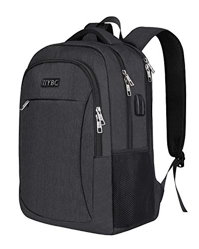 Business Laptop Backpack,IIYBC Anti-theft Travel Backpack with USB Charging Port & Headphone Jack, Water Resistant College School Computer Bag for Women & Men Fits 15.6 Inch Laptop and Notebook-Black -