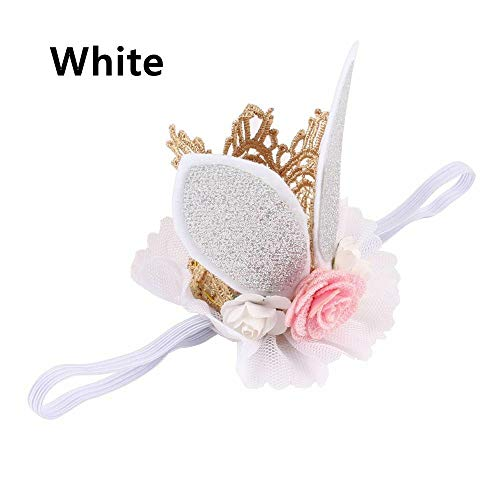 - Glitter Lace Rabbit Bunny Ears Kids Baby Headband Hair Band Flower Crown (color - white)