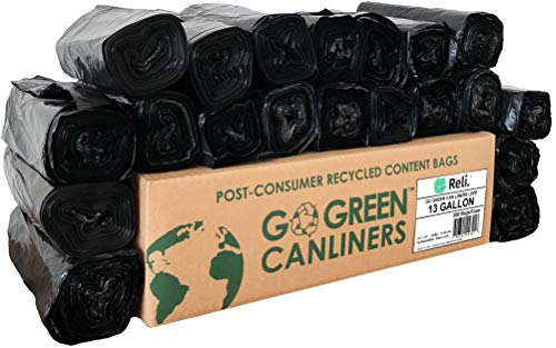 Reli. Recyclable Eco-Friendly Trash Bags, 13 Gallon (500 Count) - Made from Recycled Content (SCS Certified) - Go Green Canliners - Environment-Friendly Garbage Bags (13 Gallon - 16 Gallon) (Black)