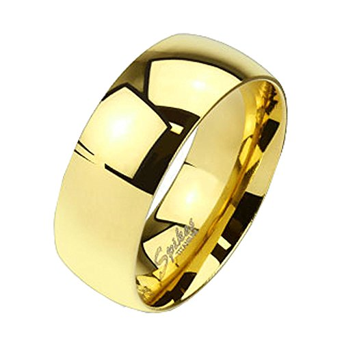 Jinique TIR-0010 Solid Titanium Gold IP 8mm Wide Classic Band Ring; Comes With Free Gift Box (Classic Solid Wide Band)