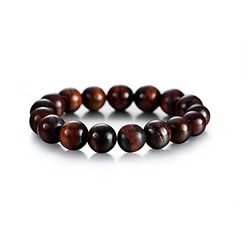 Tiger Brown Bracelet - Akvode Men's 12mm Brown Tiger's Eyes Stone Bracelet Natural Stone Stretch Charm Bracelet Energy Healing Gemstone Beaded Bracelets (Brown)