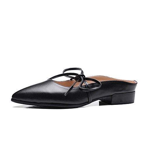 Sandalias de Cuero Mujer Mariposa Nudo Gruesas Zapatos de Tacón Bajo,GJDE A