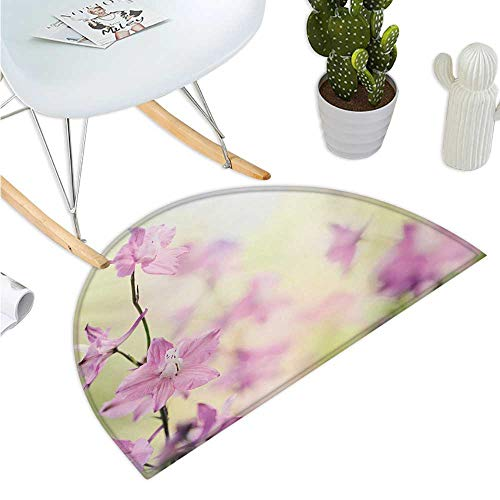 Floral Semicircular Cushion Larkspur Petals with Bokeh Backdrop Summer Season Botany Bouquet Image Halfmoon doormats H 35.4